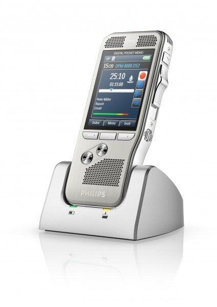 Philips DPM8000 digital voice recorder in cradle