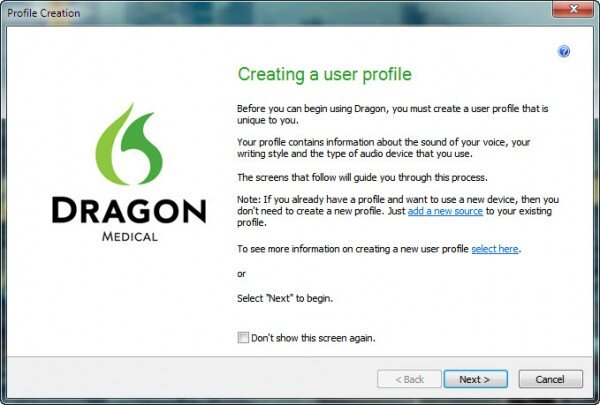 Dragon profile creation window