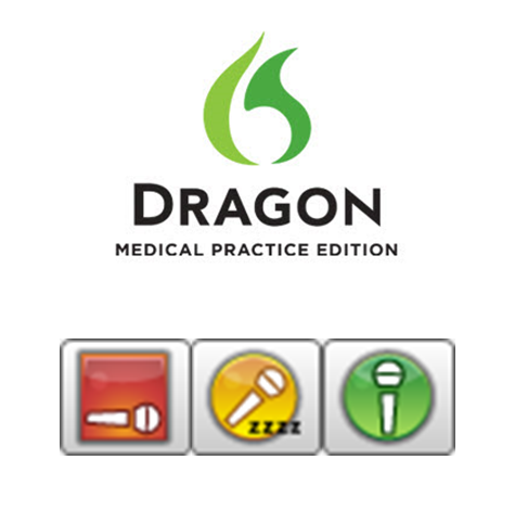 Dragon Medical Practice Edition logo with microphone icons