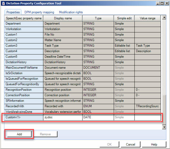 Philips SpeechExec Enterprise Manager - Dictation Property Configuration Tool