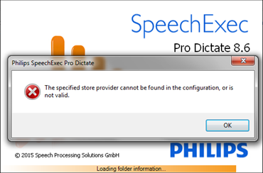 """How to Fix the Philips SpeechExec Error: """"The Specified Store Provider Cannot Be Found"""""""