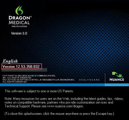 Dragon Medical Practice Edition 2.3 version splash screen