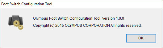 Olympus Foot Switch Configuration Tool version window