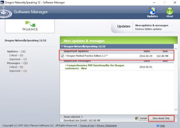 Dragon Medical Practice Edition 2 Software Update manager