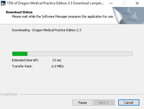 Downloading the Dragon Medical Practice Edition 2.3 update