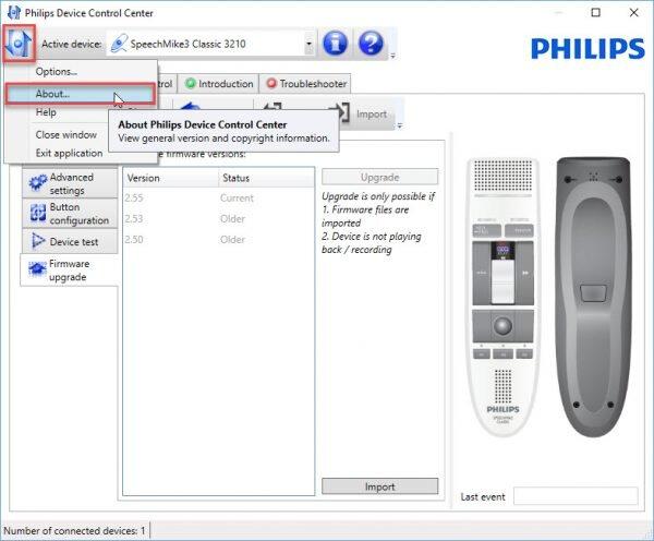 Philips SpeechControl about version menu item