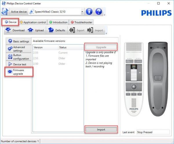 Philips SpeechControl firmware upgrade tab