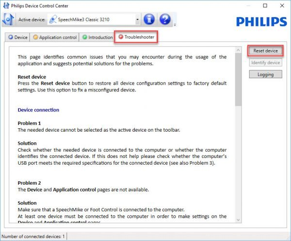 Philips SpeechControl troubleshooter tab