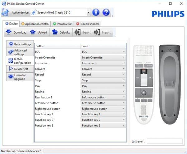 Philips SpeechControl device configuration tab