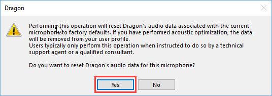 Dragon Individual v15 - Reset audio data warning