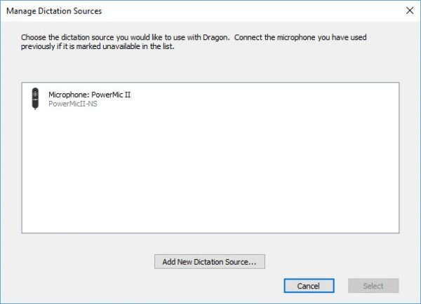 Dragon Individual v15 - Manage Dictation Sources window