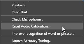 Dragon Individual v15 - Reset Audio Calibration menu