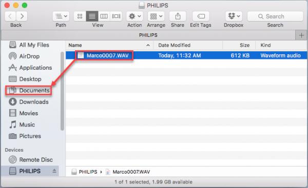 Philips drive Finder window