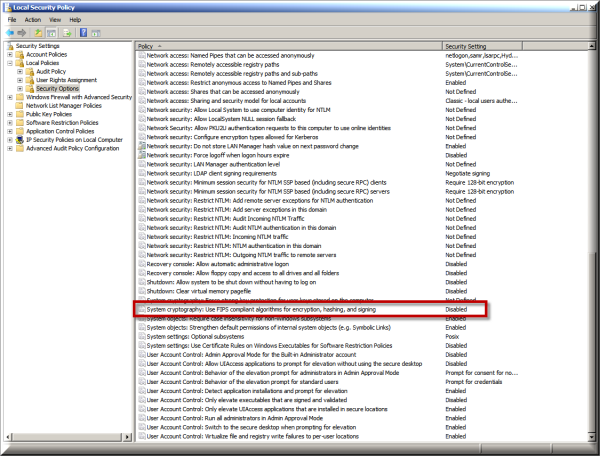 Managing your FIPS group policy on a Windows server