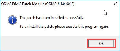 ODMS R64 patch 12 installation complete
