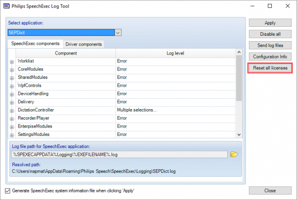 How to reset your license in the Philips SpeechExec Log Tool