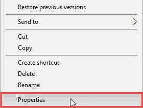 Windows right-click menu - properties