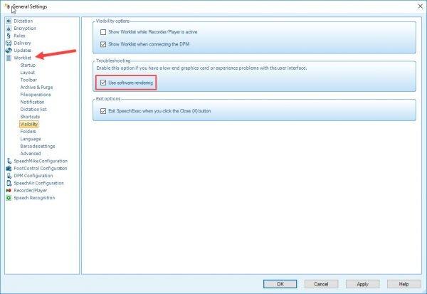Philips SpeechExec visibility options