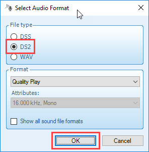 Selecting an audio format for conversion in Philips SpeechExec Pro