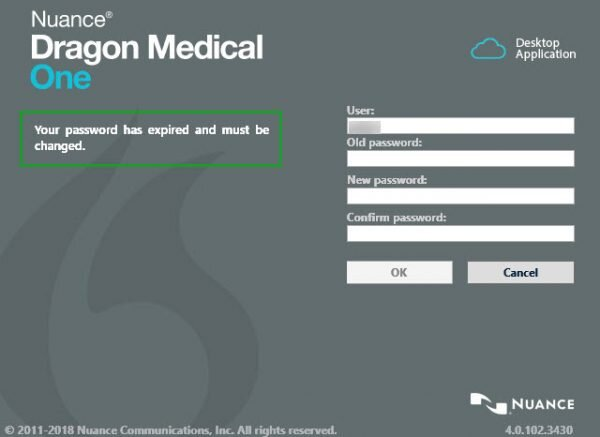 Dragon Medical One forced password change screen