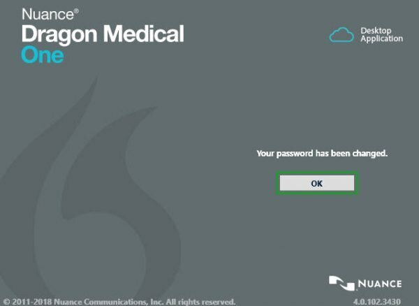 dragon medical one password change complete