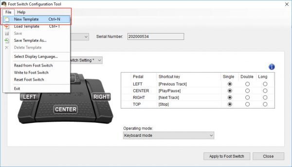 Olympus Foot Switch Configuration Tool - How to create a new template