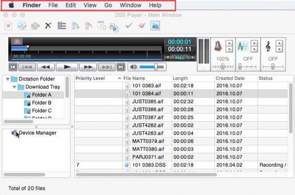Mac menu bar above Olympus DSS Player for Mac