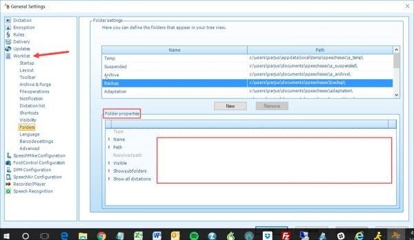 Philips SpeechExec folder settings
