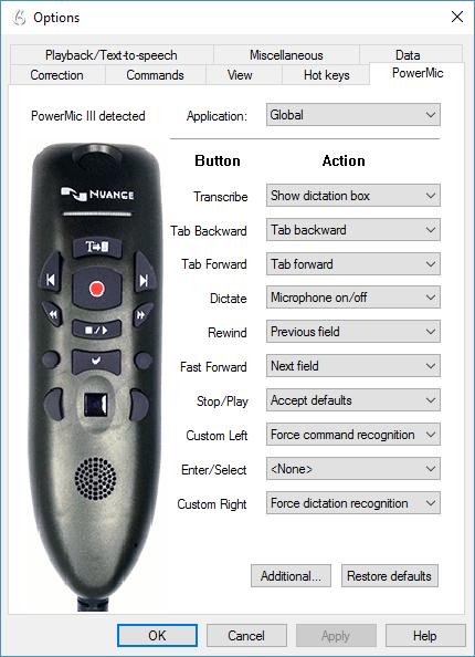 Dragon Professional Group v14 - PowerMic III options menu