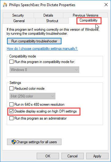Philips SpeechExec Pro Dictate Properties window - compatibility options